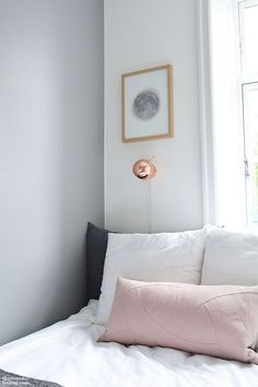 Bedroom via that nordic feeling grey nude blush copper lamp cool shades of interior