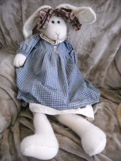 """28"""" bunny rabbit hand crafted made doll easter primitive country adorable toyfor sale in my store The Chic N Prim cottage ebay have to put in the """"the """" in search engine $15 FREE Shipping when you spend $30 or more!"""