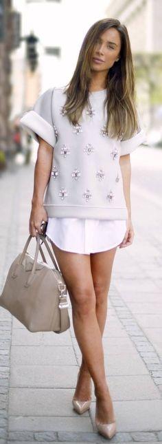Malene Birger Grey Embellished Sweater #streetstyle #malene #malene