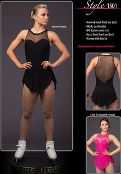 Long Sleeves Brad Griffies'Ice Skating Dress Black Girls BN1744 - Brad Griffies Dresses - Brand - Ice Skating Dresses -SkatingDressStore.com Figure Skating Outfits, Figure Skating Dresses, Acro Dance, Black Figure, Floral Gown, Gymnastics Leotards, Dance Costumes, Clothing Patterns, Black Girls