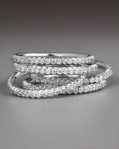 Micro Pave Ring by Roberto Coin at Bergdorf Goodman. Would want three stackables rings very thin bands have at Ben Moss in yellow gold one for each of my kids.get one each Christmas.