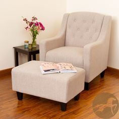 With its wide stance and overall soft padding, the Elaine Tufted Fabric Chair and Ottoman combines modern and classic elements to create one stunning chair set. The chair features a button tufted backrest and both pieces have espresso stained legs.