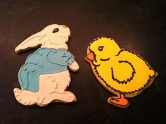 Easter bunny and easter chick sugar cookies