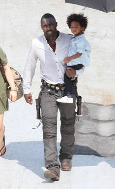 "Idris Elba on the set of ""The Dark Tower"" visited by his young son, Winston. The Dark Tower, Black Love, Black Is Beautiful, Beautiful People, Black Man, Actor Idris, Dandy, Black Actors, Actresses"