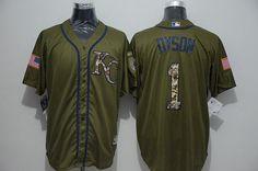 Men's Kansas City Royals #1 Jarrod Dyson Green Salute To Service Majestic Baseball Jersey