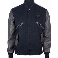LIRA Varsity Mens Letterman Jacket (165 BRL) ❤ liked on Polyvore featuring men's fashion, men's clothing, men's outerwear, men's jackets, men, navy, men's varsity style jackets, mens navy jacket, mens long jacket and mens jackets