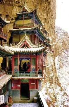 The Hanging Monastery of Mount Heng, China. This incredible temple clings to a sheer cliff face 246 feet off the ground. Located near Datong, China, the Hanging Temple of Hengshan was built years ago. Places Around The World, The Places Youll Go, Places To Go, Around The Worlds, Beijing, China Architecture, Building Architecture, Art Asiatique, China Travel