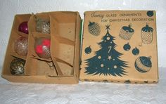 5 Vintage Christmas Fancy Glass Ornaments in Original box