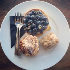 A blueberry tart, a blackberry cream puff, and a maple glazed carrot loaf walk into a pastry shop. Carrot Loaf, Maple Glazed Carrots, Pastry Shop, Blackberry, Tart, Cream, Breakfast, Food, Creme Caramel