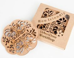 """Set of 2 wooden cup coasters """"cosy"""",natural wood,drink coaster,laser cut,birch wood,dark wood,wedding gift,gift idea,cup pad,drinks mats"""