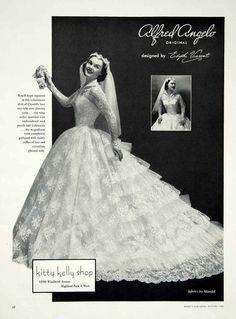 1956 Ad Alfred Angelo Vintage Wedding Dress Edythe Vincent Bride Bridal Gown