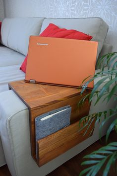 Wooden armrest tray table with Side Storage Slot Laptop
