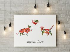Two cats in love Digital download art print Cat by FromZeroPlus