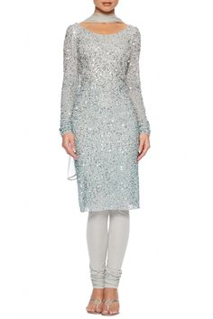 Silver beaded churidar suit