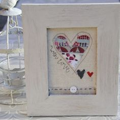 'With Love' Embroidered Textile Love Heart Framed Picture   Valentines Gift   www.giftwrappedandgorg