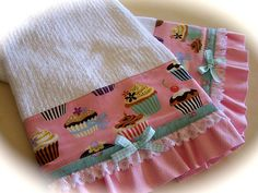 Cupcake kitchen towels. A delightful set. www.createdbycath.com