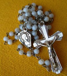 circa 1920 SILVER STERLING AND GLASS PASTE BEADS ROSARY / rosario / chapelet  | eBay