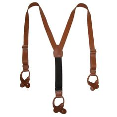 BeltOutlet.com - CTM Men's Leather Button-End Y-Back Suspender with Bachelor Buttons