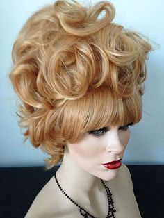 Verna, Drag Wig, Auburn Red, Natural Black, Pale Blonde, Wig is individually styled by the design team of New Attitude Wigs