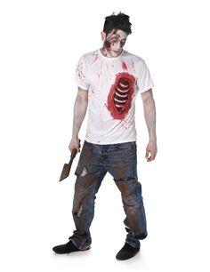 Disfraz de zombie con costillas de látex hombre Halloween: Este disfraz es una…