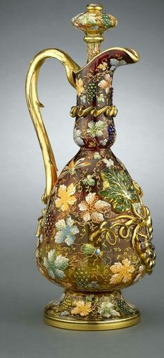 Crystal Moser Ewer with Grapes and Leaves