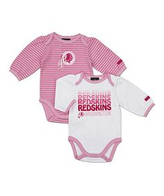 Take a look at this Pink Washington Redskins Long-Sleeve Bodysuit Set - Infant by NFL on #zulily today!