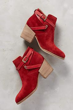 Belle by Sigerson Morrison Genia Booties Red Boots Fall Booties, Bootie Boots, Shoe Boots, Red Booties, Red Ankle Boots, Leather Booties, Cute Shoes, Me Too Shoes, Quoi Porter