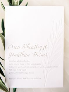 Elegant white invitations: http://www.stylemepretty.com/little-black-book-blog/2015/04/23/industrial-italian-chicago-wedding/ | Photography: Clary Pfeiffer - http://www.claryphoto.com/