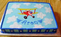 Airplane Adventure sheet cake for my nephew's birthday. BC with fondant accents. Airplane Birthday Cakes, 80 Birthday Cake, Airplane Party, Airplane Cakes, Birthday Stuff, Birthday Ideas, Happy Birthday, Buttercream Fondant, Cakes For Boys