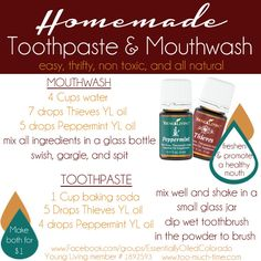 Toothpowder and mouthwash DIY recipes. Using essential oils to support your oral care routine.