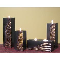 Globe Hand-carved Gold Wave Candle Holders (Set of 4), Black (Wood)
