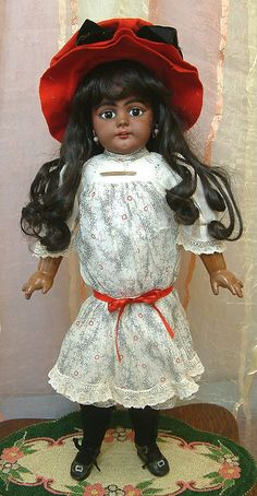 """21"""" Fantastic EARLY Black Complexion SIMON & HALBIG 739 Child Doll In from kathylibratysantiques on Ruby Lane...$2,450"""