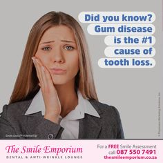 Gum disease is the #1 cause of tooth loss. Schedule your checkup today. www.thesmileemporium.co.za ‪#‎SmileDocs‬ ‪#‎SmileDeals‬ ‪#‎DrSherylSmithies‬ ‪#‎southafrica‬ ‪#‎Durban‬ ‪#‎MusgraveRoad‬ ‪#‎thesmileemporium‬ ‪#‎dentalpractice‬ ‪#‎confidence‬ ‪#‎cosmeticdentistry‬ ‪#‎dentaljob‬ ‪#‎tmj‬ ‪#‎dentistryservices‬ ‪#‎implantdentistry‬ ‪#‎invisalign‬ ‪#‎zoomwhitening‬ ‪#‎dentalcare‬ ‪#‎dentalfiller‬ ‪#‎preventivedentalcare‬ ‪#‎dentist‬ ‪#‎cosmetic‬ ‪#‎teeth‬ ‪#‎smile‬ ‪#‎HealthFact‬ ‪#‎OralTip‬…