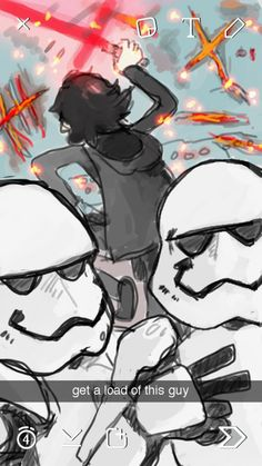 """dickmissiles: """"cumaeansibyl: """"anaukin: """"can you imagine kylo becoming a walking meme. like storm troopers take selfies with him during his tantrums. and there's a starkiller base group chat that has..."""
