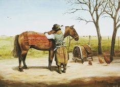 """Emparejando el tuse"" | Francisco Madero Marenco | Pintor costumbrista  #gaucho #arte #pintura #argentina #horses #caballos #folkloretube #art"