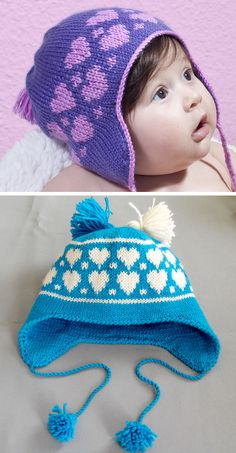 Crochet Baby Hats Free Knitting Pattern for Hearts Earflap Baby Hat - Hearts in stranded colorwork embellish this cozy baby hat with earflaps, tassels, and ties. Designed by Vera Sanon. Pictured project by the designer and - Baby Hat Knitting Patterns Free, Baby Hats Knitting, Free Knitting, Knitted Hats, Crochet Patterns, Hat Patterns, Free Pattern, Crochet Hat Earflap, Crochet Kids Hats