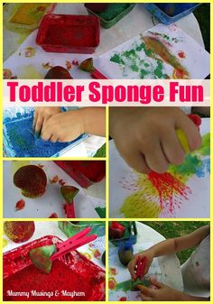 Great open ended art & fine motor practice for toddlers! Love that sponges are clipped to clothespins...