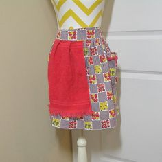 Vintage 1960s Fruit & Gingham Kitchen Apron with Red Terry Cloth St. Mary's Towel Attached, 1 Pocket, 19.5 Inches Long, Apples, Pears by VictorianWardrobe on Etsy