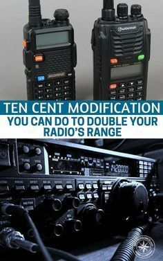 You will find that this 10 cent modification to double your radio's range is pretty simple to execute but could mean the the difference for your survival. Survival Life, Survival Prepping, Emergency Preparedness, Survival Gear, Survival Skills, Survival Books, Survival Items, Apocalypse Survival, Tactical Survival