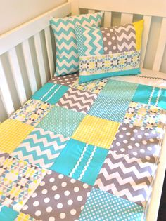 LOVE THIS Quilt...just with my color scheme! Geometric Baby Boy  Crib Quilt
