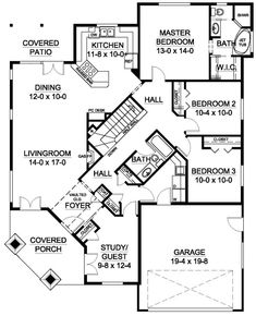 First Floor Plan of Traditional   House Plan 99991