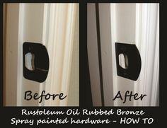 how to spray paint hardware door knobs shower bathroom fixtures faucets with rustoleum oil rubbed bronze spray paint