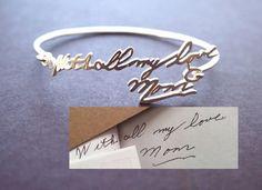 Signature Bangle Signature Bracelet by MichPersonalized on Etsy