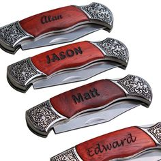 These Personalized Rosewood Handle Pocket Knives would work really well as groomsmen gifts. – Gourmet Wedding Gifts