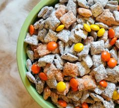 Spooky Snacks: Halloween Muddy Buddies Party Mix #recipe  #Halloween