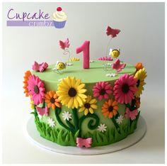 Flower Garden 1st birthday cake