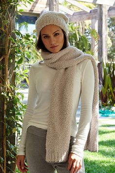 Barefoot Dreams Stone/Charcoal CozyChic Scarf With Contrast Tip