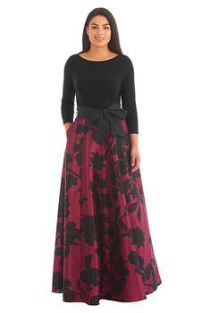 Floral print dupioni mixed media maxi dress #eShakti