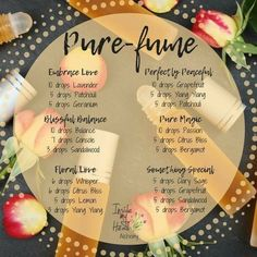 Don't these all just sound delightful! Have you found your own perfect pure-fume? Isn't it nice to know that you can make your own toxin… Essential Oil Perfume, Essential Oil Uses, Doterra Essential Oils, Perfume Oils, Diy Perfume Recipes, Homemade Perfume, Roller Bottle Recipes, Essential Oil Diffuser Blends, Glow