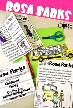 Rosa Parks differentiated texts for young students, graphic organizers, writing response pages.